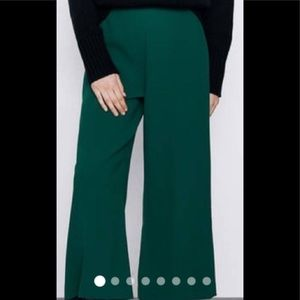 NWT Zara green culottes with side zip